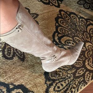 Sergio Rossi taupe suede and leather boots
